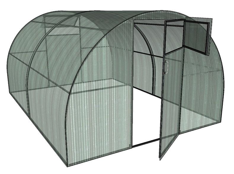 Теплица 3м арочного типа с покрытием из сотового поликарбоната
